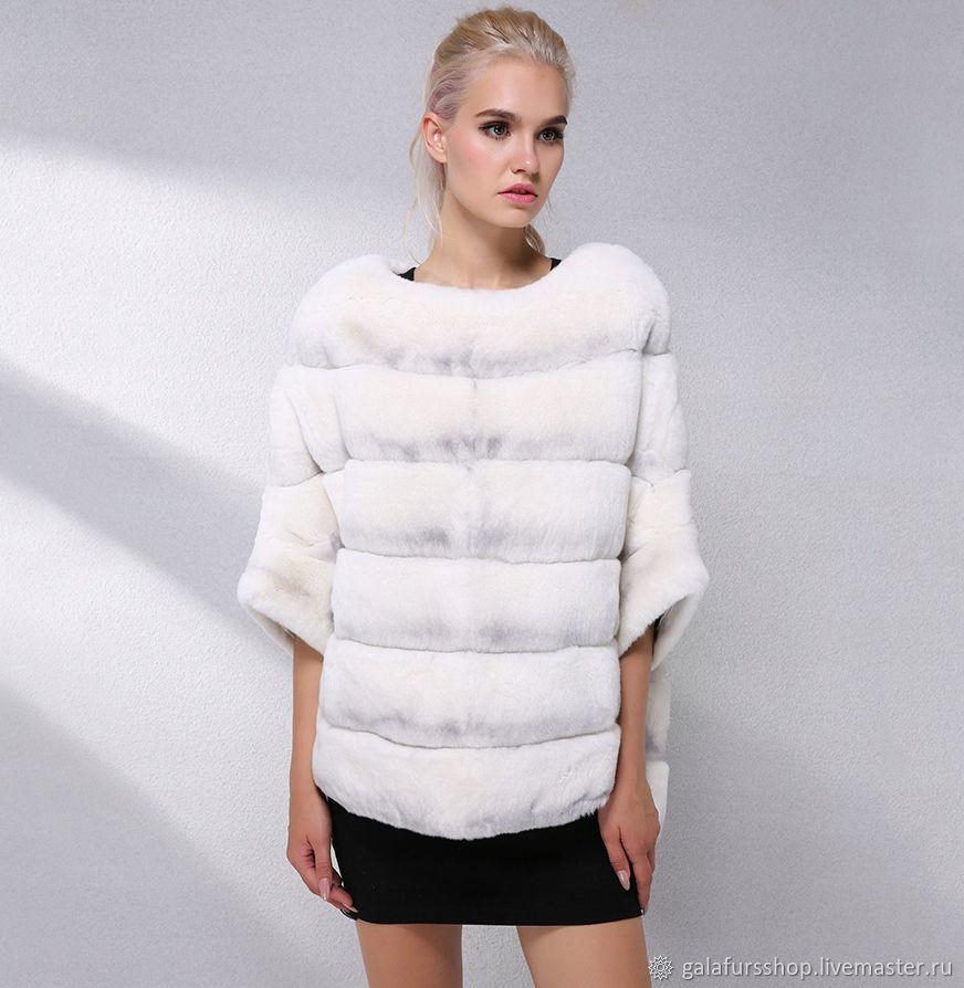 Fur coat-sweater made of natural Rex fur under a white chinchilla, Fur Coats, Tyumen,  Фото №1