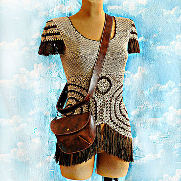 Clothing handmade. Livemaster - original item Natural silk tunic with boho fringe. Dreamcatcher. Handmade.