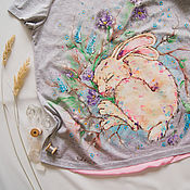 Одежда ручной работы. Ярмарка Мастеров - ручная работа Футболка для беременной Заинька. Handmade.