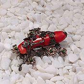 Украшения handmade. Livemaster - original item Silver brooch with coral.. Handmade.