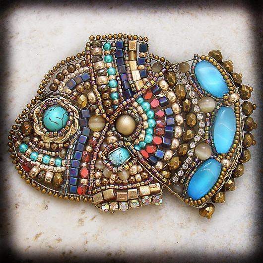 Brooches handmade. Livemaster - handmade. Buy Brooch 'Fish solar'.Gold, gift, metal, spacer beads, plastic beads