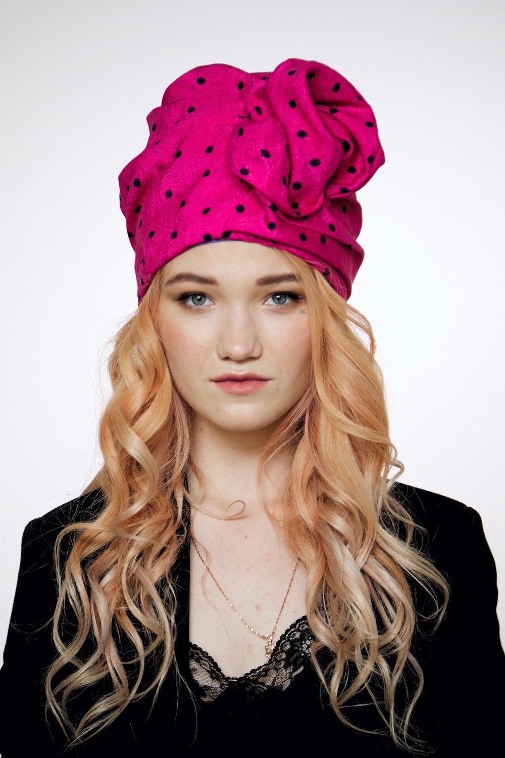 Hot pink cotton turban hat hijab with black polka dot, Caps, Moscow,  Фото №1