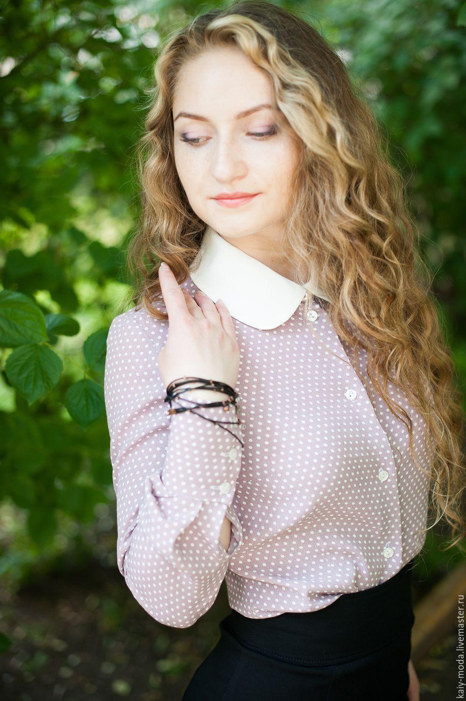 Купить блузку с белым воротничком