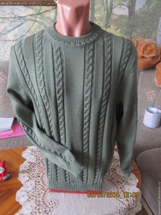 Для мужчин, ручной работы. Ярмарка Мастеров - ручная работа. Купить свитер мужской. Handmade. Оливковый, свитер, свитер мужской