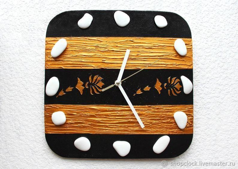 Настенные часы Черный с золотом. Размер 30 на 30 см, Часы классические, Новосибирск,  Фото №1