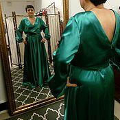Одежда ручной работы. Ярмарка Мастеров - ручная работа платье изумрудное в пол с длинным рукавом. Handmade.