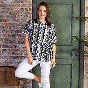 Одежда handmade. Livemaster - original item Viscose blouse with drawstring Grey polka Dots. Handmade.