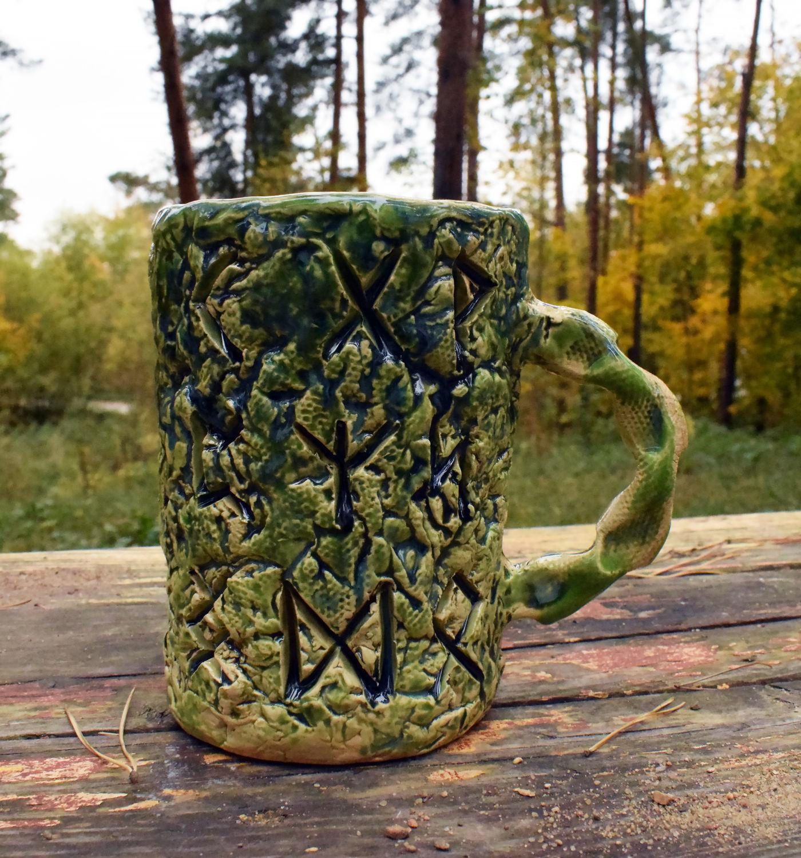 Futhark - ceramic carved mug, Mugs and cups, Moscow,  Фото №1