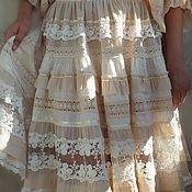 """Одежда ручной работы. Ярмарка Мастеров - ручная работа Юбка из шитья и кружева в стиле бохо """"Одетта.Cream"""". Handmade."""