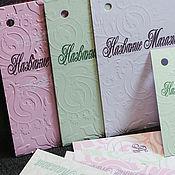 Этикетки ручной работы. Ярмарка Мастеров - ручная работа Бирка именная, паспорт изделия, этикетка с тиснением. Handmade.