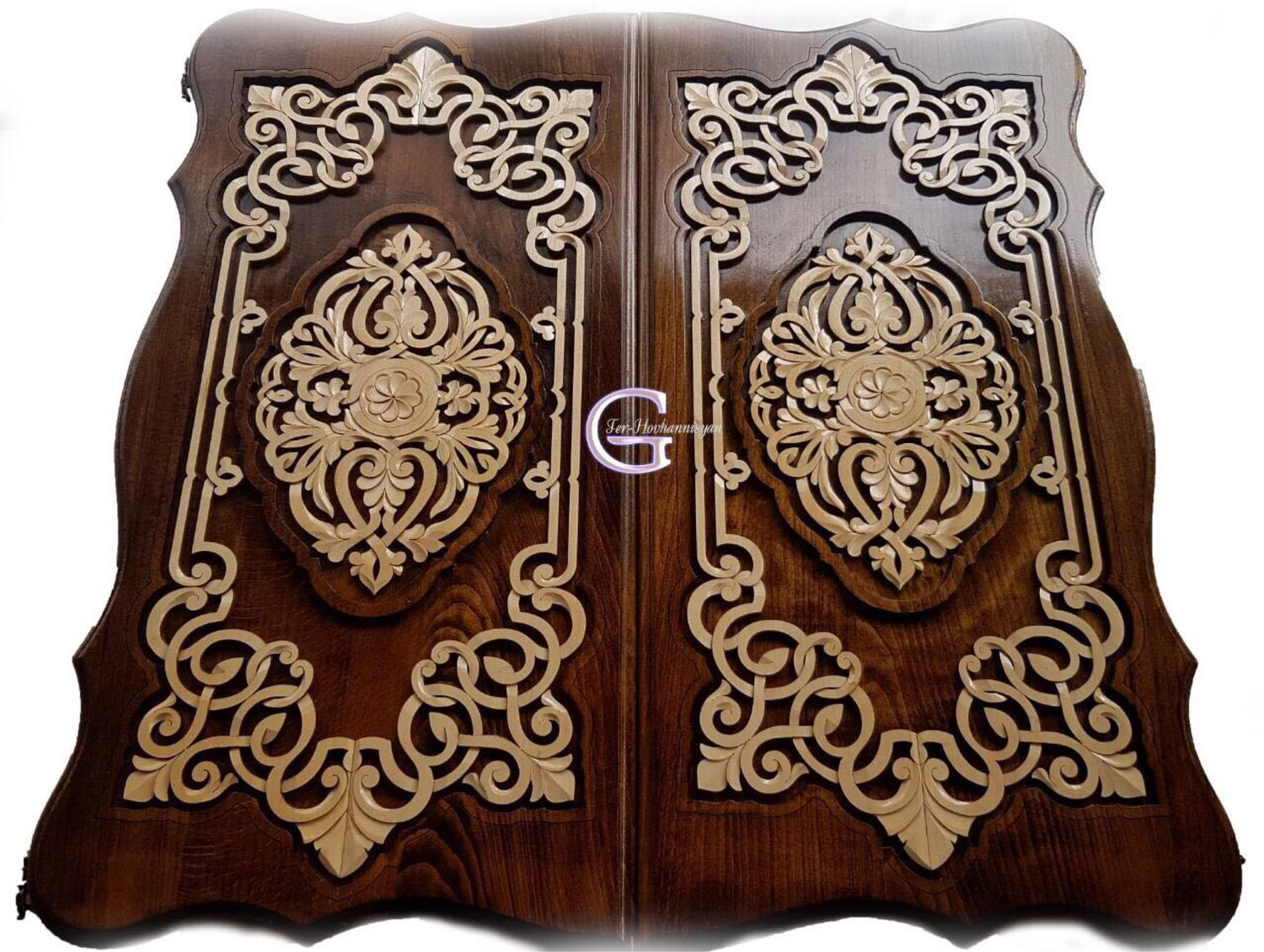 Backgammon carved handmade 'Pattern 4' Art. .037, Backgammon and checkers, Moscow,  Фото №1