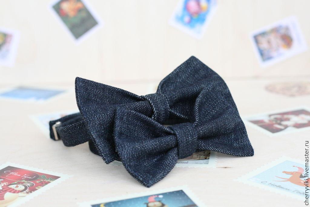 Бабочка галстук из джинсовой ткани