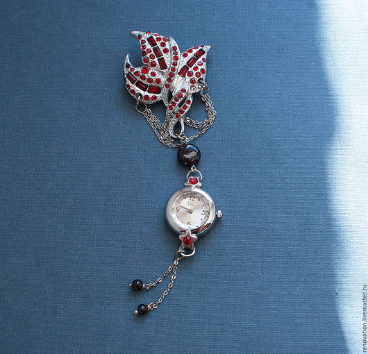 """Часы ручной работы. Ярмарка Мастеров - ручная работа. Купить Брошь часы """"Время цвести гранату"""". Handmade. Бордовый, реновация"""