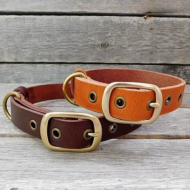 Товары для питомцев ручной работы. Ярмарка Мастеров - ручная работа Ошейники для собак, 25мм с люверсами, рыжий и коричневый цвет. Handmade.