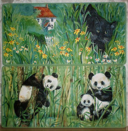 """Кухня ручной работы. Ярмарка Мастеров - ручная работа. Купить """"Панды и чёрная кошка"""" Разделочная доска панно. Handmade. Комбинированный"""