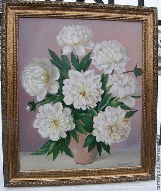"""Картины цветов ручной работы. Ярмарка Мастеров - ручная работа. Купить Картина.""""Пионы белые в рамке""""Холст. Масло 50/60. Handmade."""