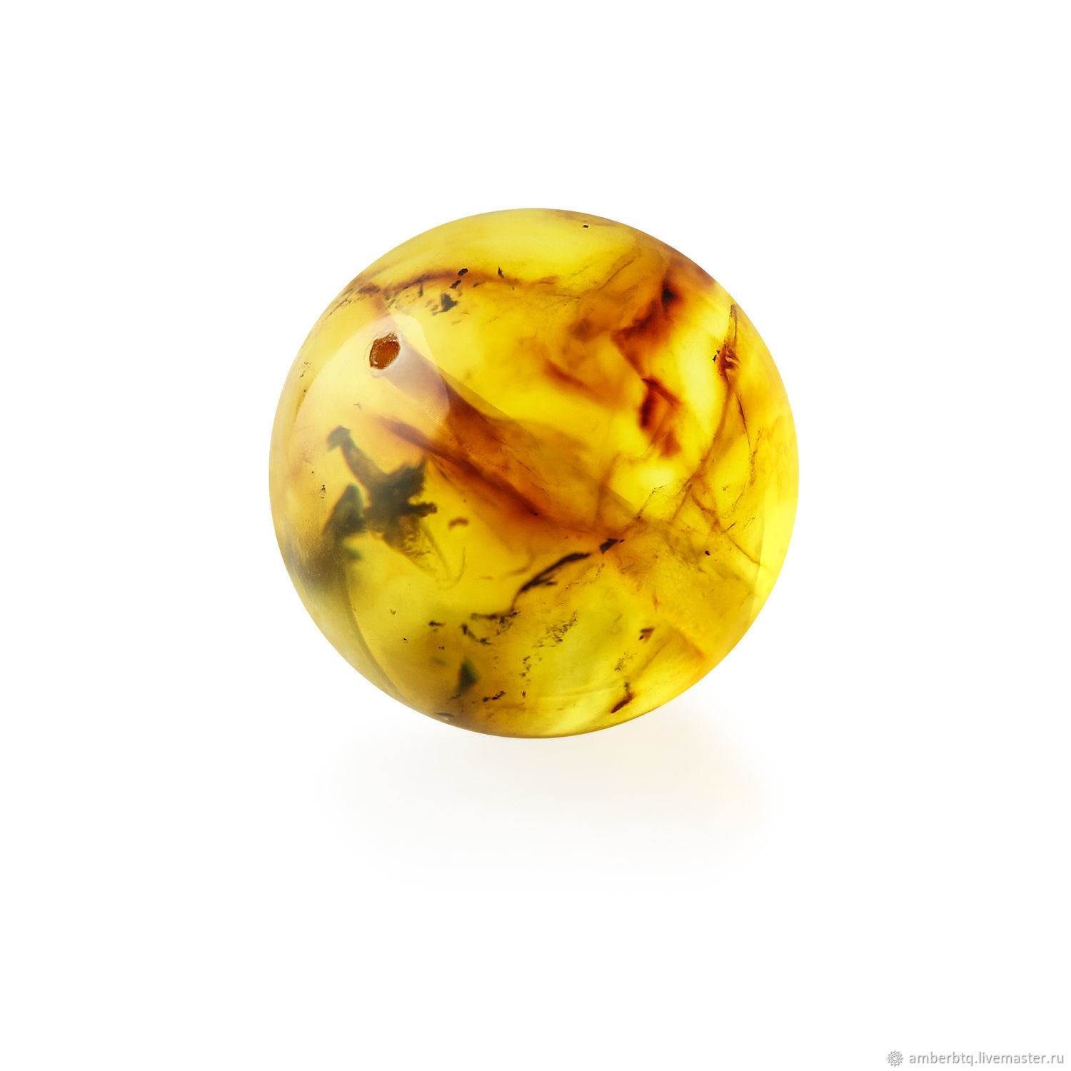 Ball-amber8mm-Lemon color with inclusions-Drilled, Beads1, Kaliningrad,  Фото №1