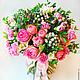 Розово-сиреневый букет из живых цветов