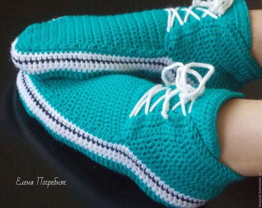 Обувь ручной работы. Ярмарка Мастеров - ручная работа. Купить Тапочки кеды.. Handmade. Морская волна, тапочки женские