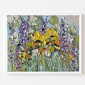 Картины и панно handmade. Livemaster - original item A bright painting with yellow flowers and purple bells in oil. Handmade.