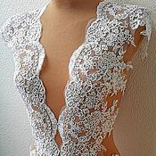 Материалы для творчества handmade. Livemaster - original item Lace with soutache thread, trim for wedding dress. Anabel. Handmade.