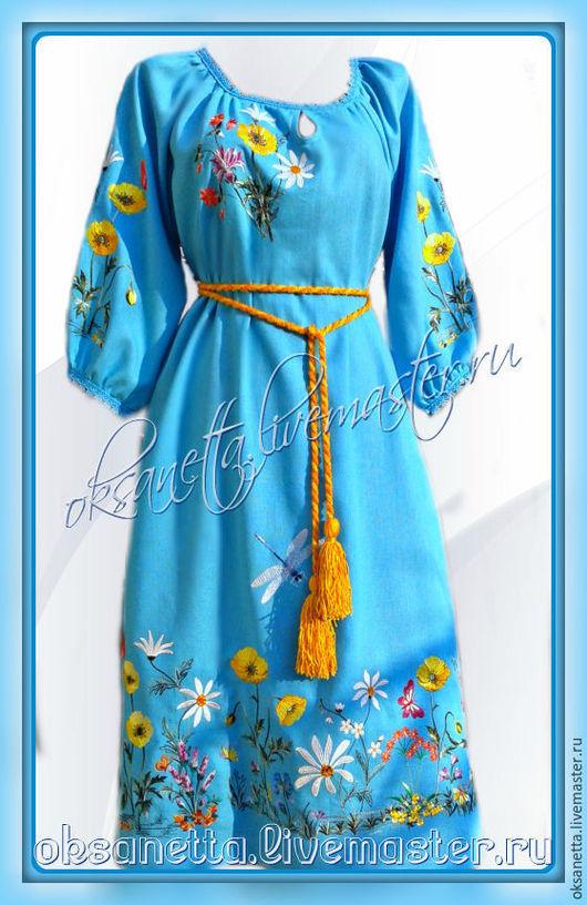 """Платья ручной работы. Ярмарка Мастеров - ручная работа. Купить Платье """"Лазурь"""" лен. Handmade. Вышиванка, вышиванку купить"""