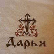Работы для детей, ручной работы. Ярмарка Мастеров - ручная работа Махровое полотенце для крещения с вышивкой. Handmade.