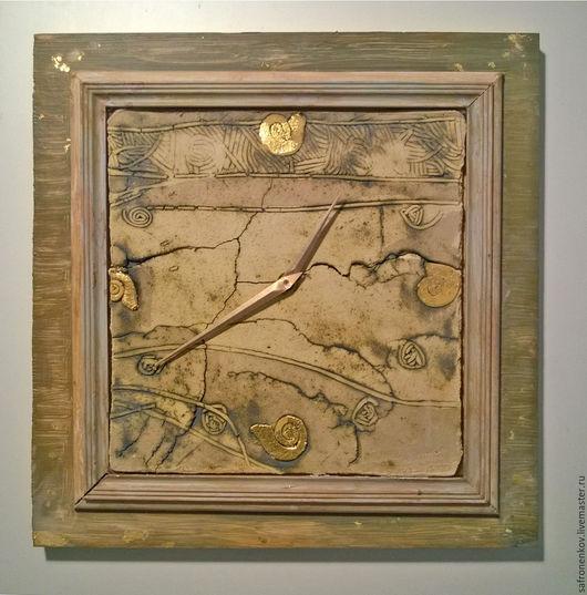 Часы для дома ручной работы. Ярмарка Мастеров - ручная работа. Купить Часы настенные с аммонитами. Handmade. Комбинированный, панно