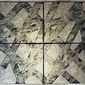 Картины и панно handmade. Livemaster - original item Painting polyptych abstract, silver shiny