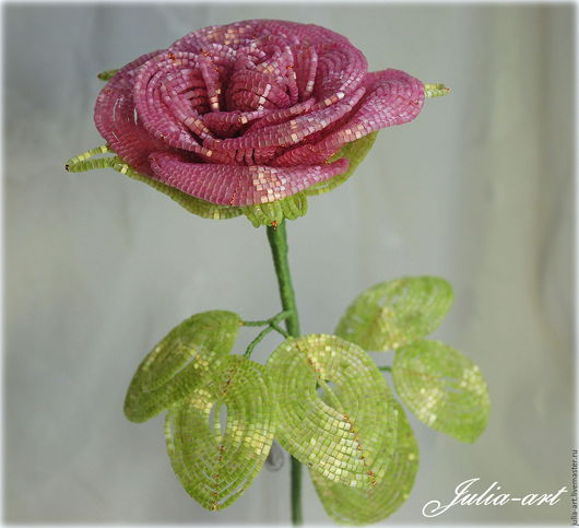 Цветы ручной работы. Ярмарка Мастеров - ручная работа. Купить Роза (розовая). Handmade. Розовый, сделано с любовью, жене