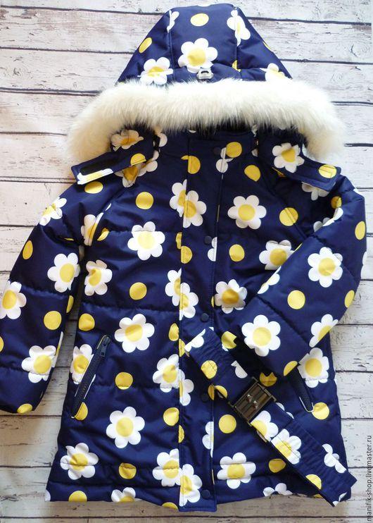 """Одежда для девочек, ручной работы. Ярмарка Мастеров - ручная работа. Купить Куртка-пуховик из мембраны """"Ромашки"""". Handmade. Комбинированный"""