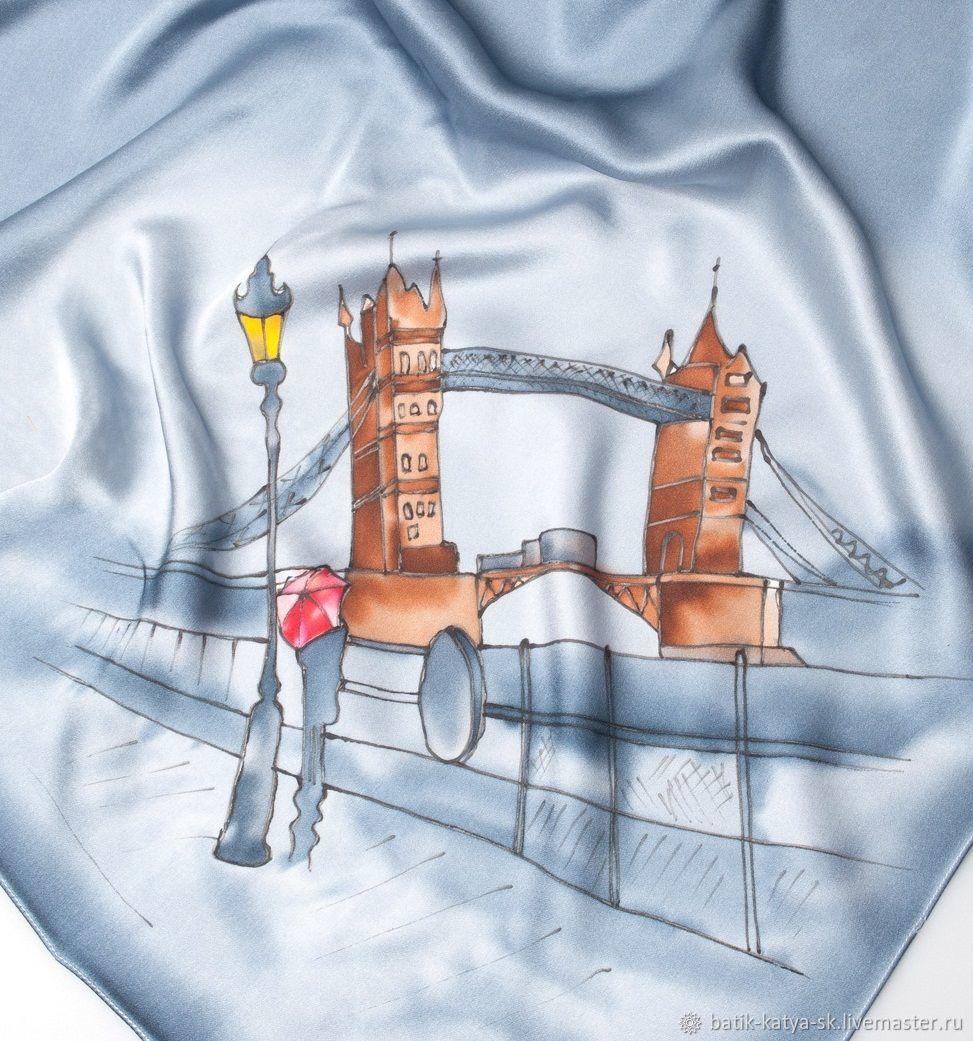 Batik silk handkerchief 'London. Tower bridge''', Shawls1, Moscow,  Фото №1