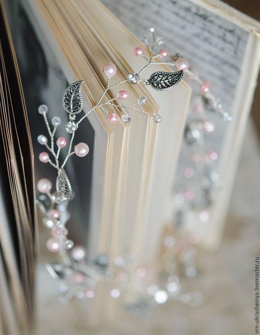 Свадебные украшения ручной работы. Ярмарка Мастеров - ручная работа. Купить Венок-ободок для свадебной или вечерней прически с розовым жемчугом. Handmade.
