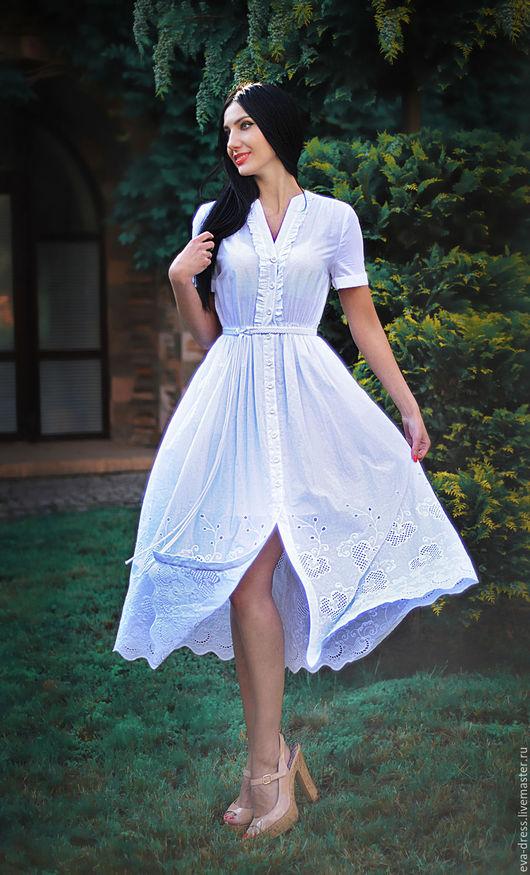 """Платья ручной работы. Ярмарка Мастеров - ручная работа. Купить Платье из белоснежного шитья. Белое платье миди """"Утренняя свежесть"""". Handmade."""
