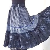 Одежда handmade. Livemaster - original item Tiered long skirt in a cage, the floor-length skirt,boho skirt.. Handmade.