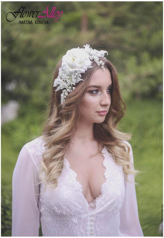 """Цветы ручной работы. Ярмарка Мастеров - ручная работа. Купить Вуалетка-заколка с цветами """"Жасмин"""". Цветы из шелка для невесты. Handmade."""