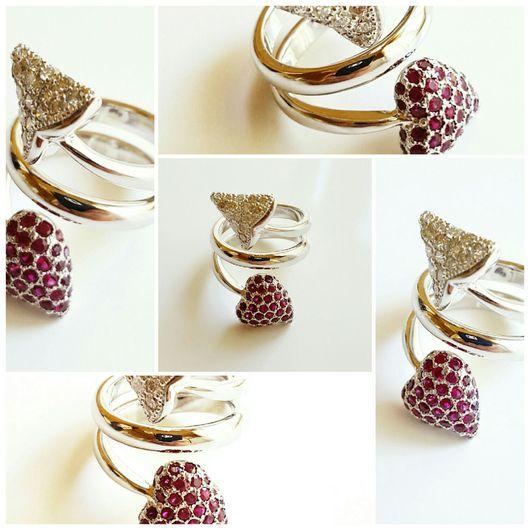 """Кольца ручной работы. Ярмарка Мастеров - ручная работа. Купить Золотое кольцо с бриллиантами и рубинами """"Devil"""". Handmade. подарок женщине"""