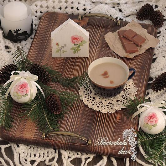 Кухня ручной работы. Ярмарка Мастеров - ручная работа. Купить Поднос деревянный VintageStyle-3. Handmade. Поднос, для завтрака, для чая