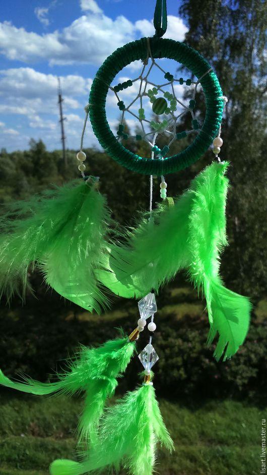 Интерьерные  маски ручной работы. Ярмарка Мастеров - ручная работа. Купить Ловец сновидений. Handmade. Зеленый, ловец снов, перо