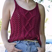 Одежда handmade. Livemaster - original item Knitted cotton top in Bordeaux color. Handmade.