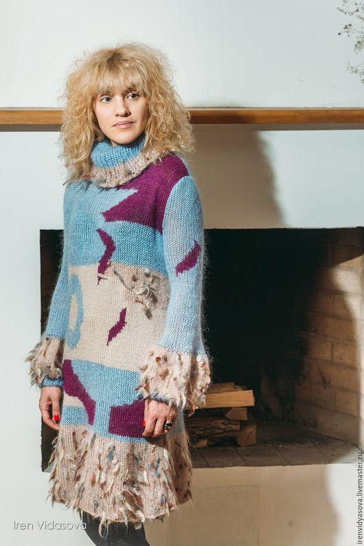 """Платья ручной работы. Ярмарка Мастеров - ручная работа. Купить Платье """"Пестрая лента"""". Handmade. Голубой, перья, шикарное платье"""