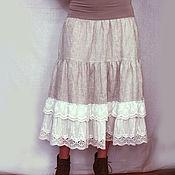 Одежда ручной работы. Ярмарка Мастеров - ручная работа Нижняя юбка из льна Арт.101-e, с белым шитьем. Handmade.