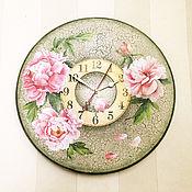 Для дома и интерьера ручной работы. Ярмарка Мастеров - ручная работа часы настенные Цветы пиона. Handmade.