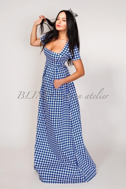 Платья ручной работы. Ярмарка Мастеров - ручная работа. Купить Платье из плотного коттона 00144. Handmade. Синий, blind, лето
