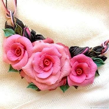 Украшения ручной работы. Ярмарка Мастеров - ручная работа Подвеска-колье нежно-розовый Розовые розы. Handmade.