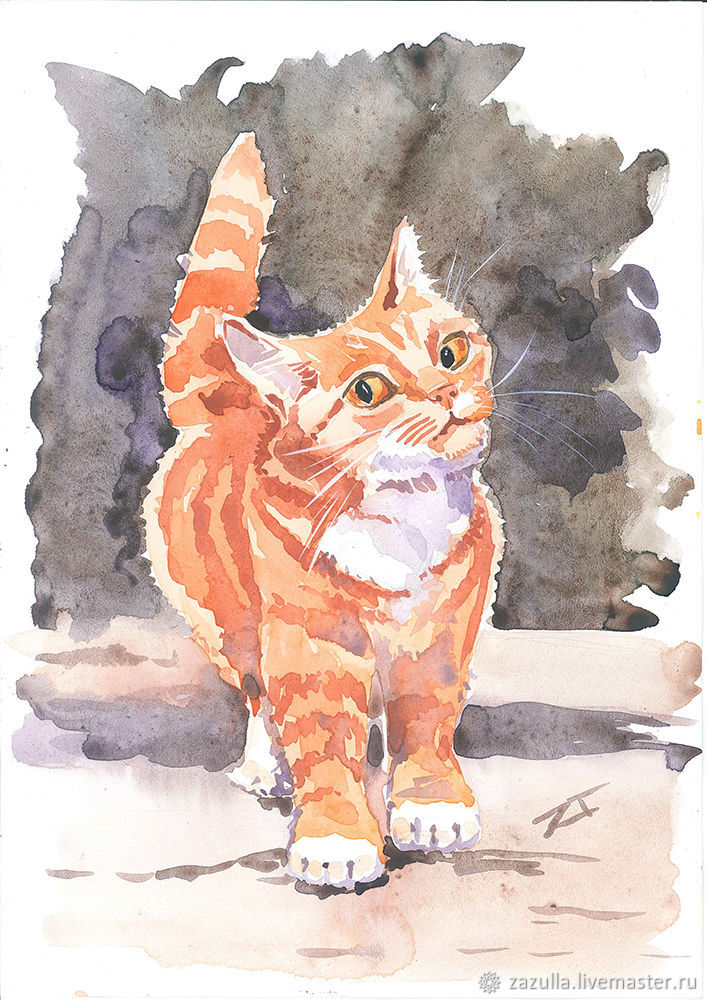 Watercolor painting cat ginger, Pictures, Penza,  Фото №1