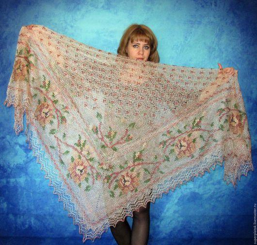 Шали, палантины ручной работы. Ярмарка Мастеров - ручная работа. Купить Пуховый платок(шаль) с вышивкой,паутинка из натурального козьего пуха. Handmade.