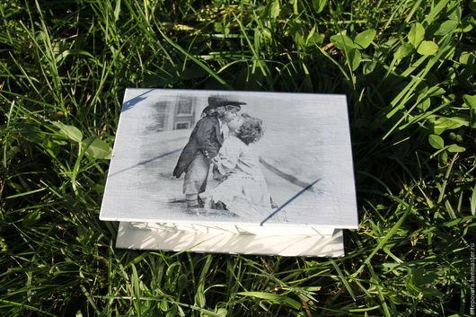 Шкатулки ручной работы. Ярмарка Мастеров - ручная работа. Купить Первый поцелуй. Handmade. Серый, шкатулка декупаж, Санкт-Петербург