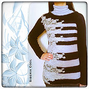 Одежда handmade. Livemaster - original item Women`s sweater knitting, lace, stripe, 100% wool, and mohair. Handmade.