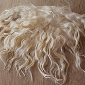 Материалы для творчества handmade. Livemaster - original item The skin of the goat # 18 (hair for dolls, white) Curls Curls for dolls. Handmade.